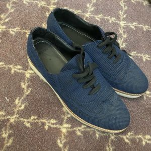 Zara Navy Platform Oxford Shoes